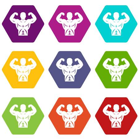 Athletic man torso icon set many color hexahedron isolated on white vector illustration