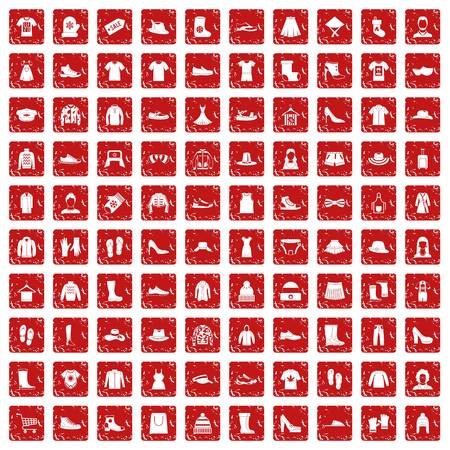 100 rags icons set in grunge style red color isolated on white background vector illustration