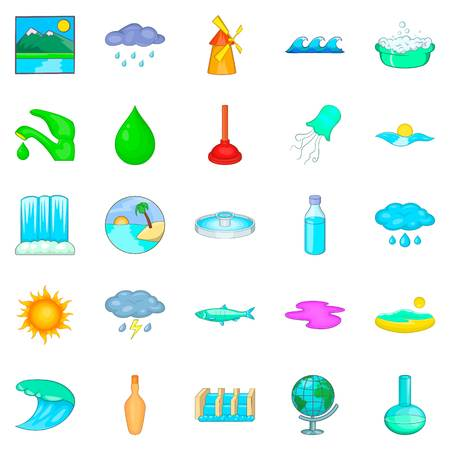 Water dam icons set. Cartoon set of 25 water dam vector icons for web isolated on white background Illustration