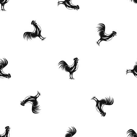 Gallic rooster pattern repeat seamless in black color for any design. Vector geometric illustration