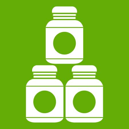 Sport nutrition containers icon white isolated on green background. Vector illustration