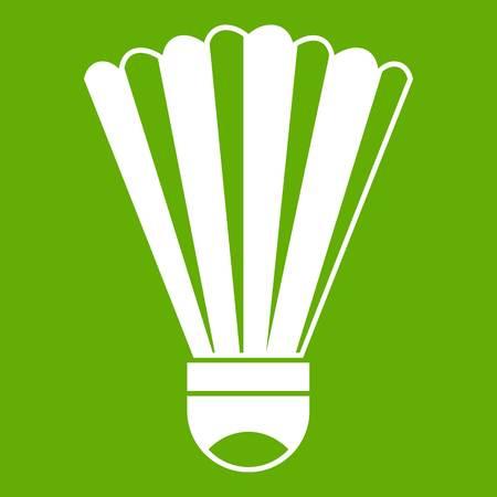 Shuttlecock icon white isolated on green background. Vector illustration Illustration