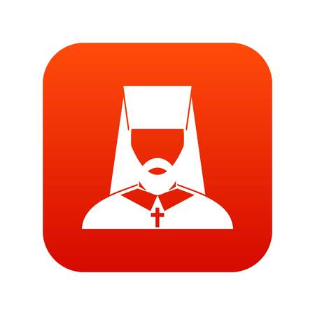 Orthodox priest icon digital red for any design isolated on white vector illustration Ilustrace