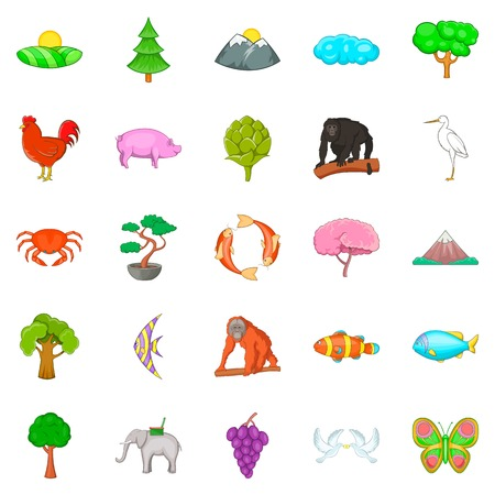 Natural diversity icons set. Cartoon set of 25 natural diversity vector icons for web isolated on white background  イラスト・ベクター素材