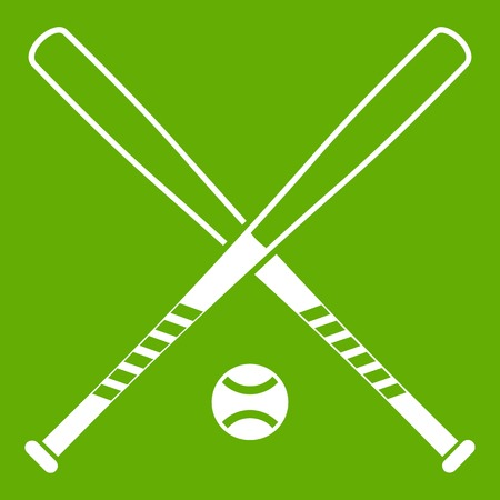 Crossed baseball bats and ball icon white isolated on green background. Vector illustration