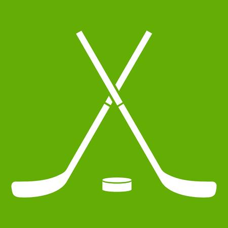 Crossed hockey sticks and puck icon green Illustration
