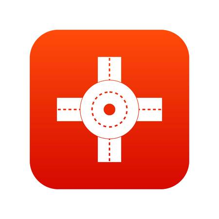 Big road junction icon digital red
