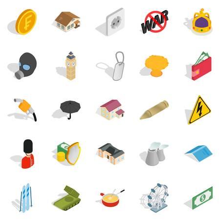 Profitable business icons set, isometric style