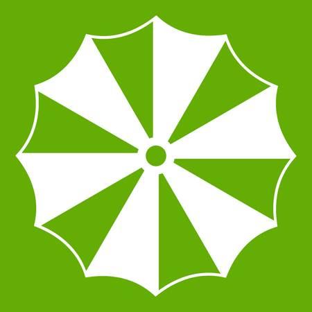 Striped umbrella icon green