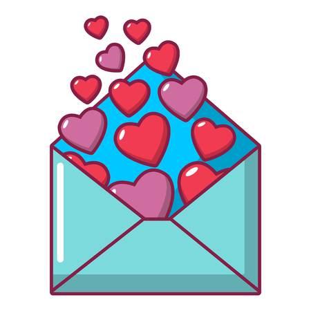 Heart letter icon, cartoon style