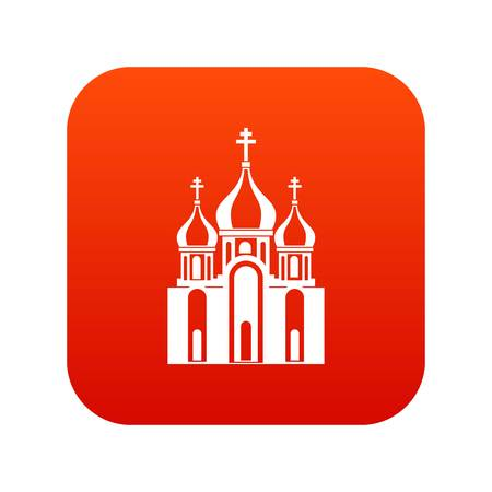 Church building icon digital red Çizim