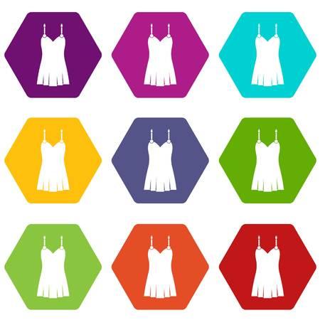 Nightdress icon set color hexahedron Ilustração