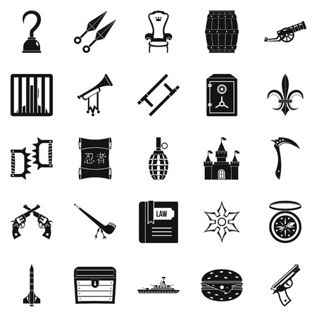 Armament icons set, simple style