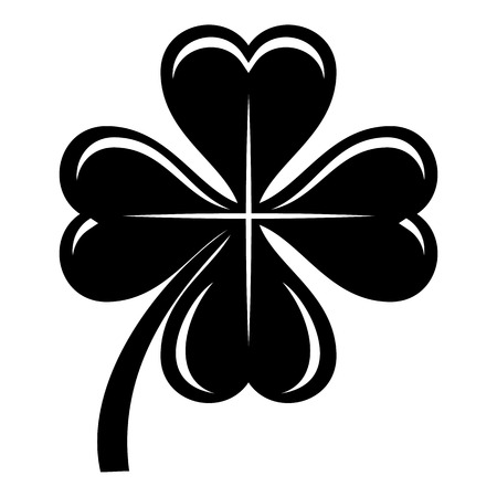 Four leaf clover icon, simple black style
