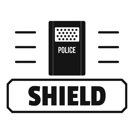 Social protest shield logo, simple black style