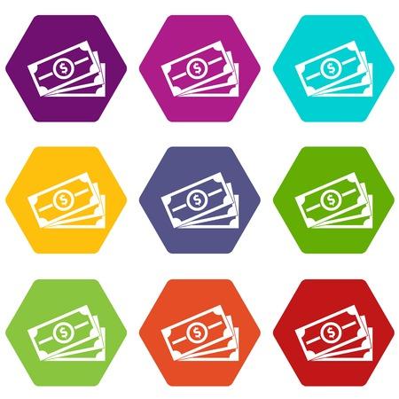 Stack of dollar bills icon set color hexahedron Ilustração