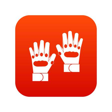 Pair of paintball gloves icon digital red
