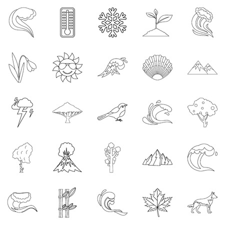 Environ icons set, outline style Stock Illustratie