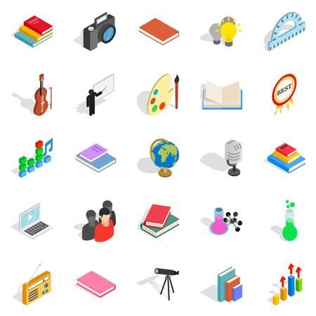 Pamphlet icons set, isometric style