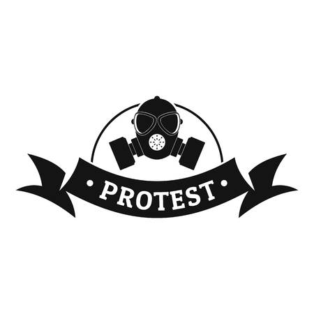 Protester gas mask logo, simple black style