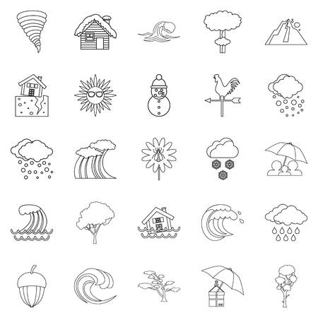 Rainy weather icons set, outline style