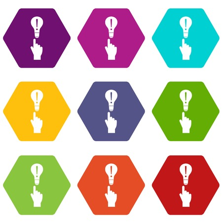 A finger pointer and light bulb icon set color hexahedron