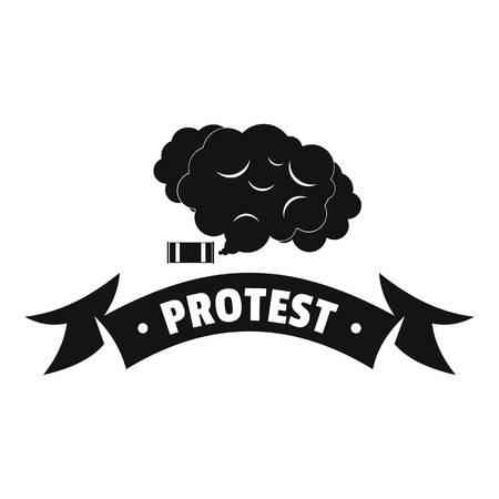 Protester smoke logo, simple black style
