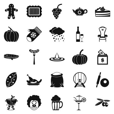 Munificence icons set, simple style Illusztráció