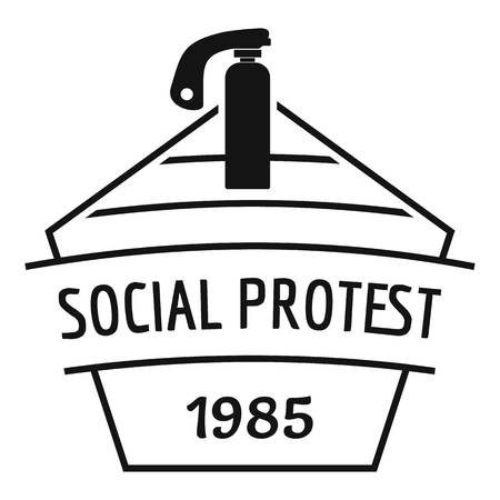 Social protest riot logo, simple black style