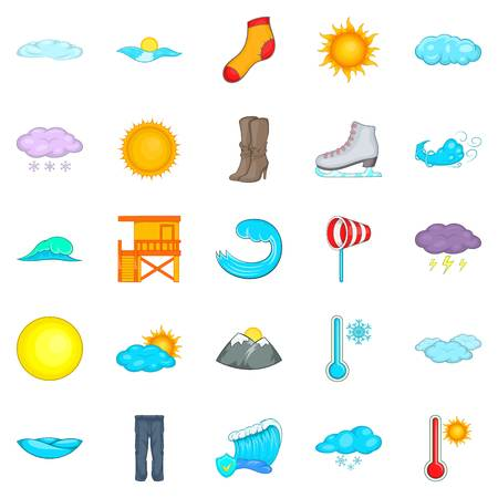Clear weather icons set, cartoon style