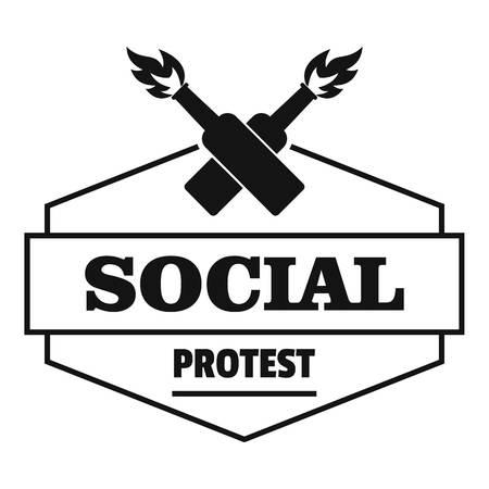 Social protest molotov cocktail logo, simple black style Illustration