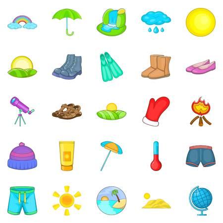 Frosty weather icons set, cartoon style