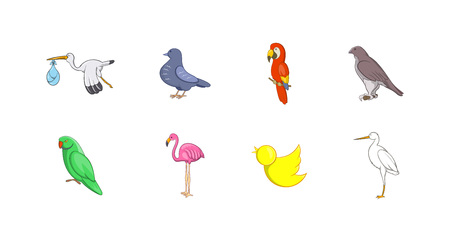 Birds icon set. Cartoon set of birds vector icons for your web design isolated on white background
