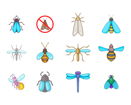 Insects icon set. Cartoon set of insects vector icons for your web design isolated on white background