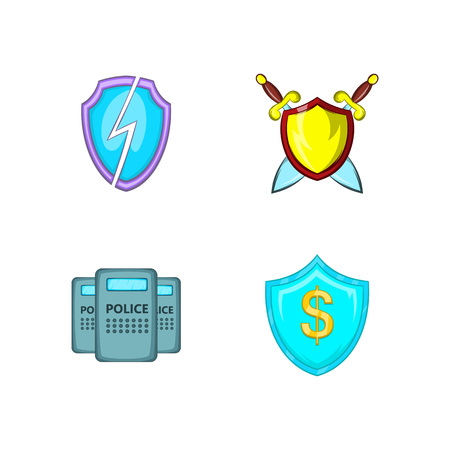 Shield icon set. Cartoon set of shield vector icons for your web design isolated on white background