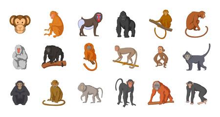 Jeu d'icônes de singe. Ensemble de dessin animé d'icônes vectorielles singe pour votre design web isolé sur fond blanc Vecteurs