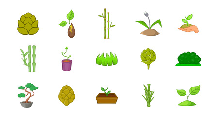 Plant icon set. Cartoon set of plant vector icons for your web design isolated on white background Illustration