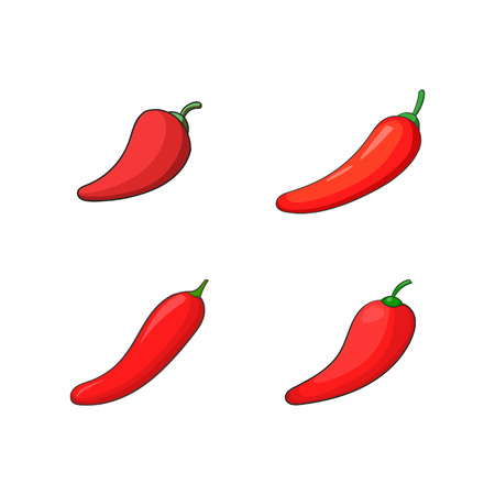 Chilli icon set. Cartoon set of chilli vector icons for your web design isolated on white background Vettoriali