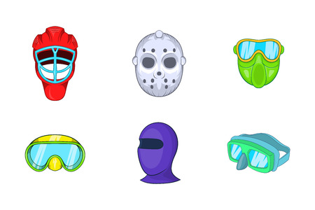 Sport mask icon set. Cartoon set of sport mask vector icons for your web design isolated on white background Illustration