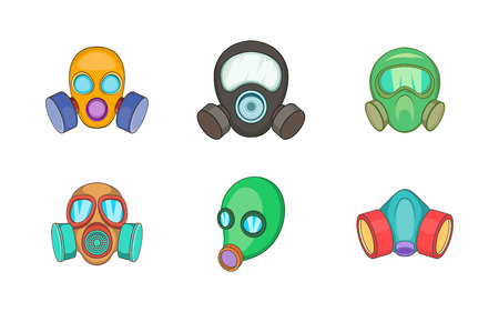 Gas mask icon set. Cartoon set of gas mask vector icons for your web design isolated on white background