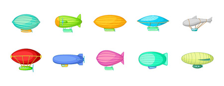 Airship icon set. Cartoon set of airship vector icons for your web design isolated on white background 일러스트