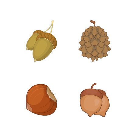 Nuts icon set. Cartoon set of nuts vector icons for your web design isolated on white background
