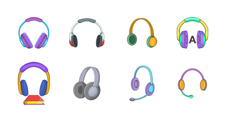 Headphones icon set. Cartoon set of headphones vector icons for your web design isolated on white background