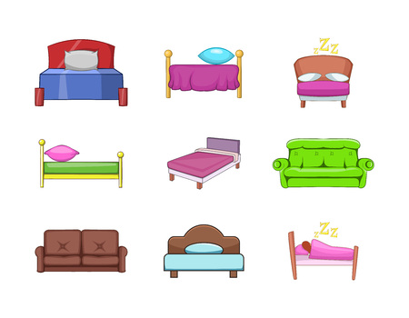 Bed icon set. Cartoon set of bed vector icons for your web design isolated on white background 向量圖像