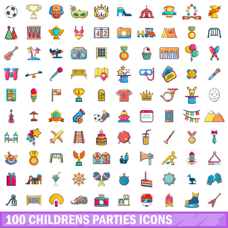100 childrens parties icons set. Cartoon illustration of 100 childrens parties vector icons isolated on white background