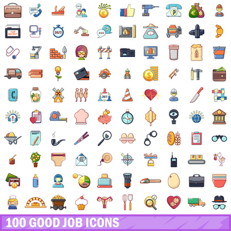 100 good job icons set. Cartoon illustration of 100 good job vector icons isolated on white background Illusztráció