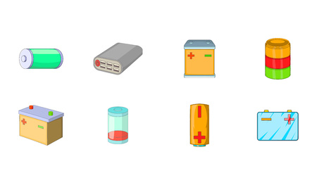 Battery icon set. Cartoon set of battery vector icons for your web design isolated on white background  イラスト・ベクター素材