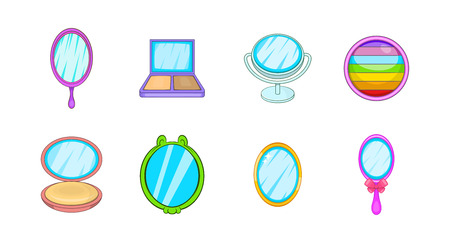 Mirror icon set. Cartoon set of mirror vector icons for your web design isolated on white background