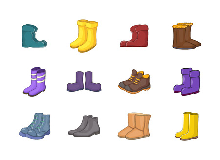 Boots icon set. Cartoon set of boots vector icons for your web design isolated on white background Illustration