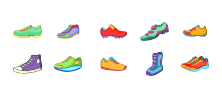 Sport shoes icon set. Cartoon set of sport shoes vector icons for your web design isolated on white background